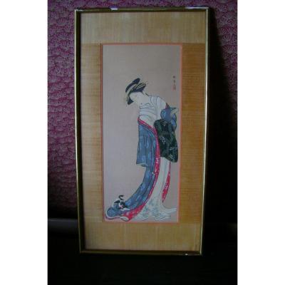 Estampe Japonaise. Geisha Au Chaton. Epoque Meiji (1868-1912 )