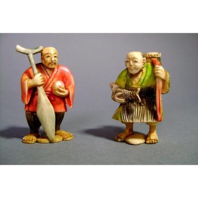 Deux netsukes en ivoire. Les pêcheurs. japon époque Taisho (1912-1928 )