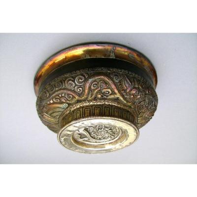 Coupe libatoire en argent et bois . Tasse à thé. Tibet XIXème