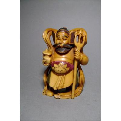 Okimono en ivoire. Bishamon, dieu du bonheur et de la guerre. Japon époque Meiji (1868-1912 )