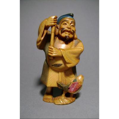 Okimono en ivoire. Ebisu Dieu des marins. Japon époque Meiji (1868-1912 )