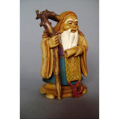 Okimono en ivoire Jurojin, Dieu de la longévité. Japon époque Meiji ( 1868-1912 )