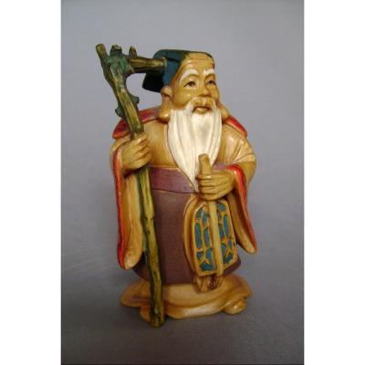 Okimono en ivoire.  Fukurokuju, Dieu de la sagesse. Japon époque Meiji.