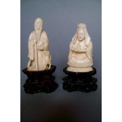 China 1920-30 Two Ivory Okimonos. Shou-lao And Benten. China 1920-30