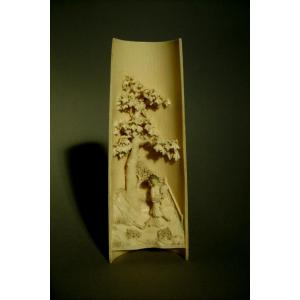 Okimono. Carved Ivory Literate Wrist Rest, China, Late 19th-early 20th Century