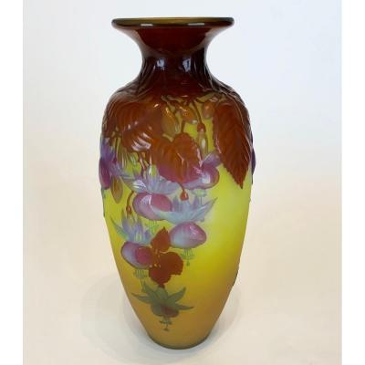 Beautiful Emile Gallé Vase With Flower Decor