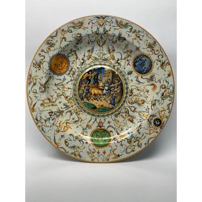 Very Large Italian Ceramic Cantagalli Istoriato Maiolica Charger