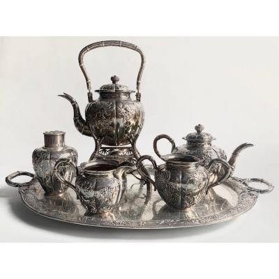 Complete Chinese Export Silver Tea Set, Luen Hing, Shanghai