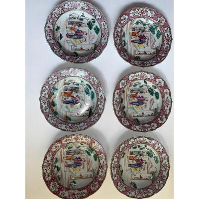Collection of 6  18th century Mandarin pattern deep plates