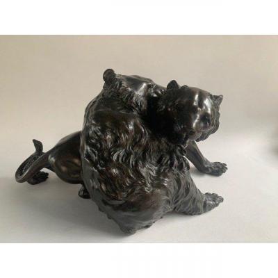 Outstanding 19 Century Meiji Japanese Bronze Okimono group: Tiger and Bear