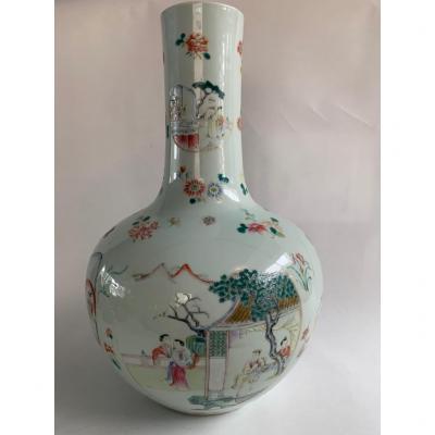 Large & Important 19th Century Famille Rose Bottle Vase