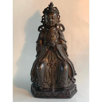 Large Ming Chinese Antique Bronze Of An Immortal Daoist Figure XIwangmu