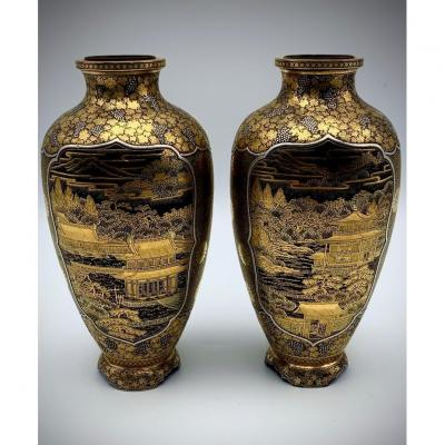 Exceptionnelle Paire De Vases Incrustés De Fer, d'Or Et d'Argent De Komai Otojiro. Fin XIXe