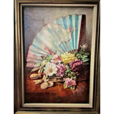 Still Life With A Fan And Roses