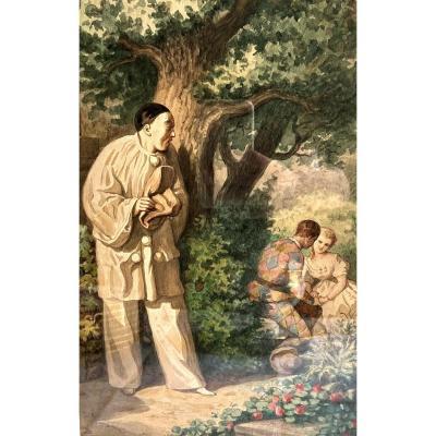 """Pierrot surprenant Arlequin et Colombine"". Aquarelle, Belin Auguste 1871"