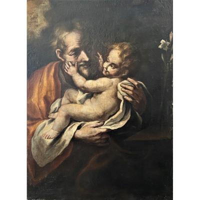 """""""St Joseph et l'enfant Jésus"""" école française vers 1700"""
