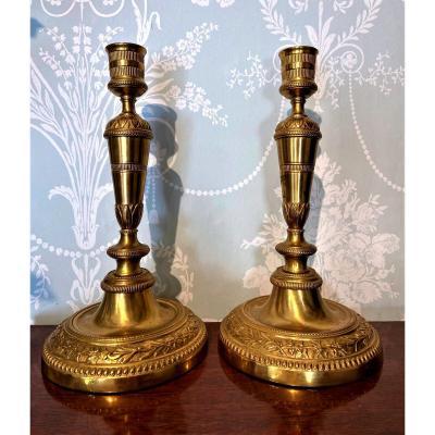 Paire De Bougeoirs Louis XVI En Bronze Dore d'époque XVIII Siècle