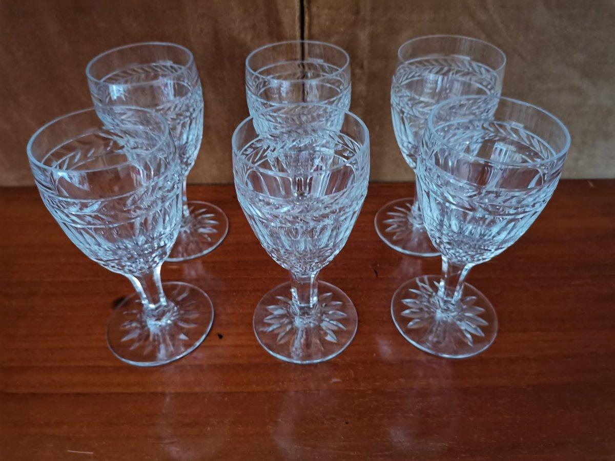 Série De 6 Verres à Vin Blanc, Cristal,Epoque XIXème-photo-2