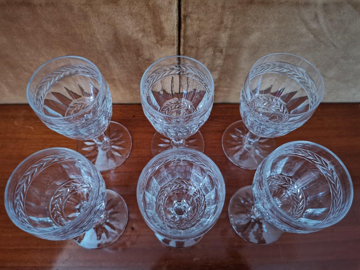 Série De 6 Verres à Vin Blanc, Cristal,Epoque XIXème-photo-3