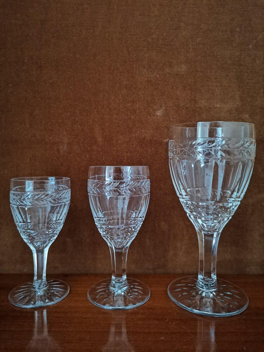 Série De 6 Verres à Vin Blanc, Cristal,Epoque XIXème-photo-1