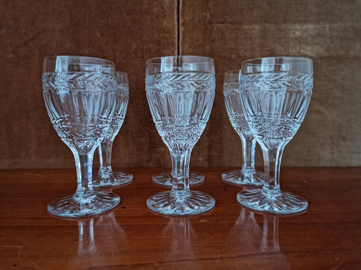 Série De 6 Verres à Vin Blanc, Cristal,Epoque XIXème