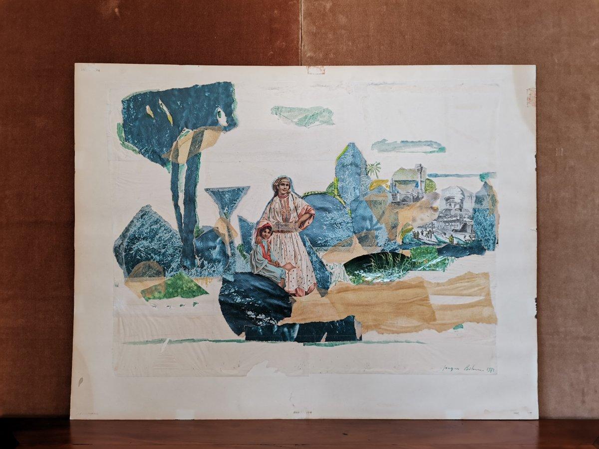 Peinture /Collage, Thème Orientaliste, Jacques Bibonne, Années 1970-photo-2