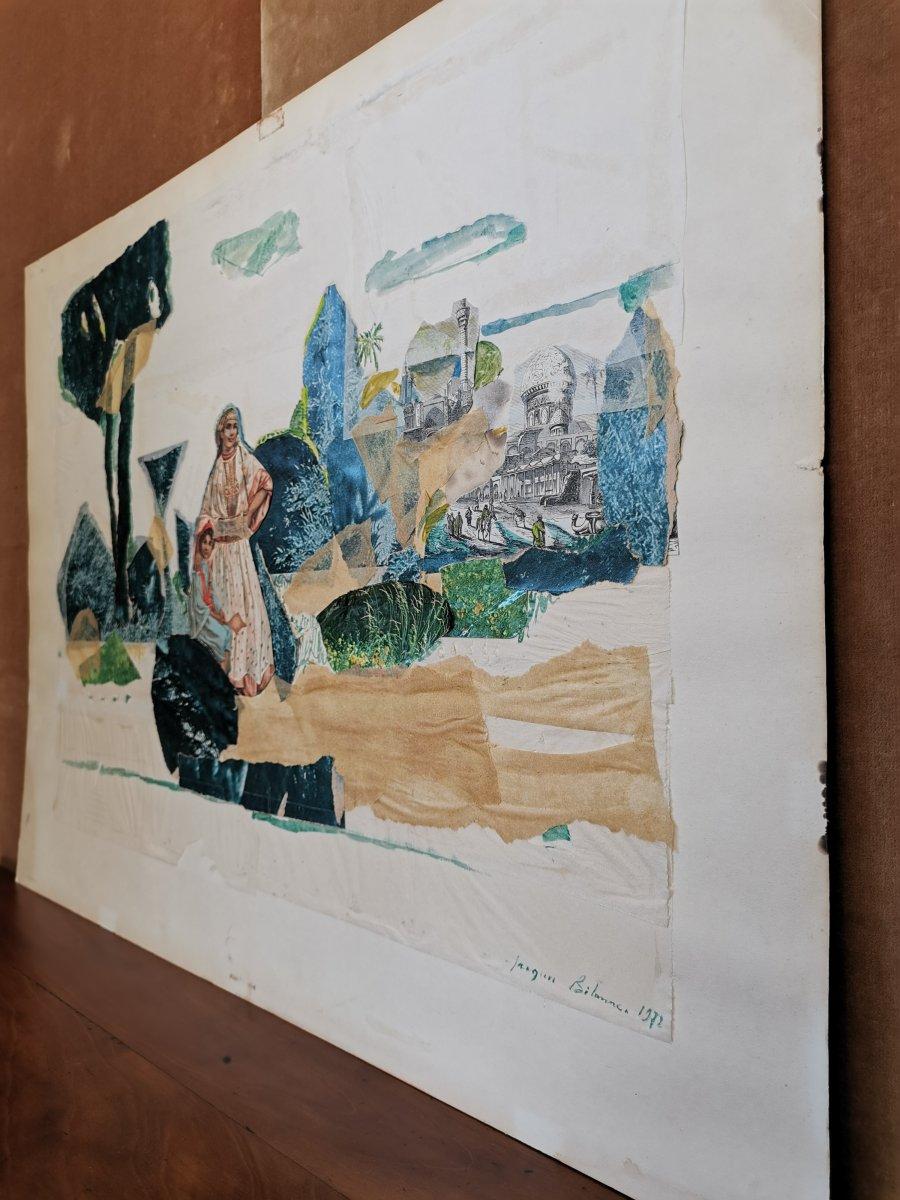 Peinture /Collage, Thème Orientaliste, Jacques Bibonne, Années 1970-photo-3
