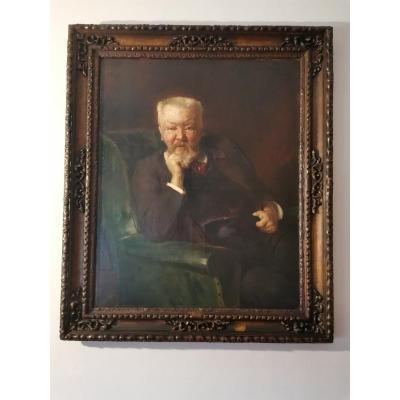 Grand Portrait d'Homme Par Ernest Bordes Début XX°