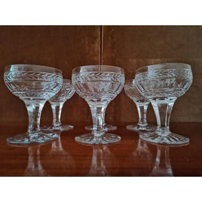 Series Of 6 Champagne Cups, Crystal, XIXth Century