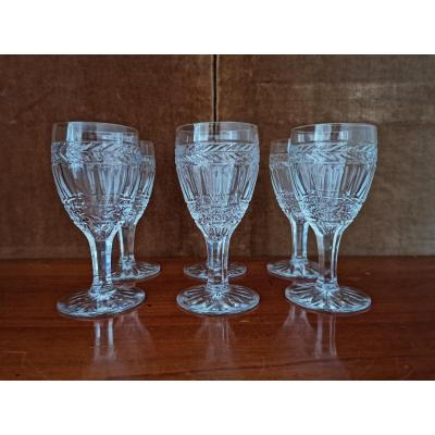 Series Of 6 White Wine Glasses, Crystal, XIXth Century