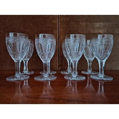 Series Of 8 Port Glasses, Crystal, XIXth Century
