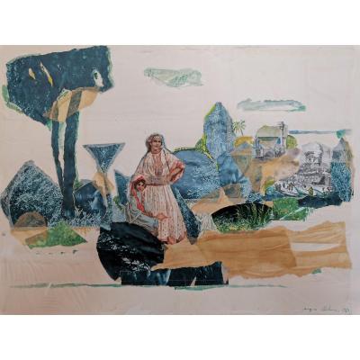 Peinture /Collage, Thème Orientaliste, Jacques Bibonne, Années 1970
