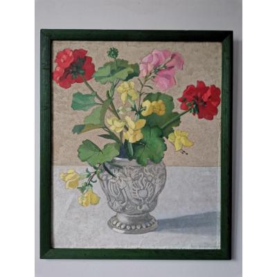 Still Life With Bouquet, Gouache, Josje Van Riemsdijk, Period XX °