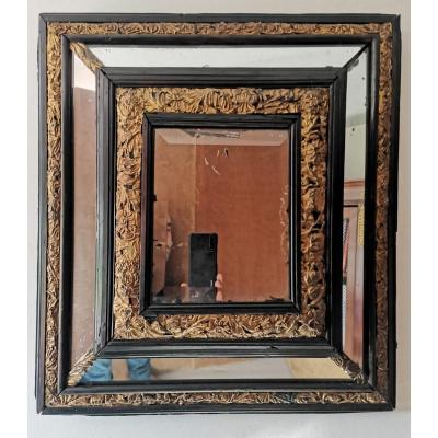 Mirror With Parcloses, Blackened Wood And Repoussé Brass, Louis XIII Period