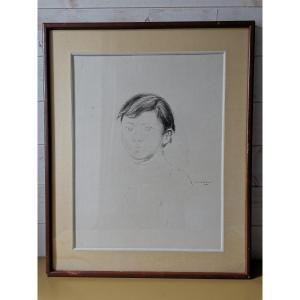 Grand Dessin Portrait D'Enfant Signé De Pierre Théron, Epoque XXème