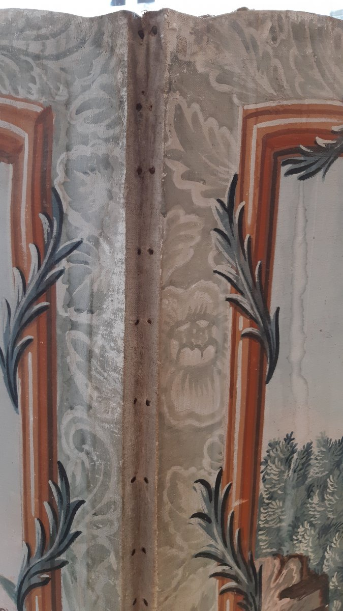 Large Folding Screen With Four Leaves Of The Eighteenth Century