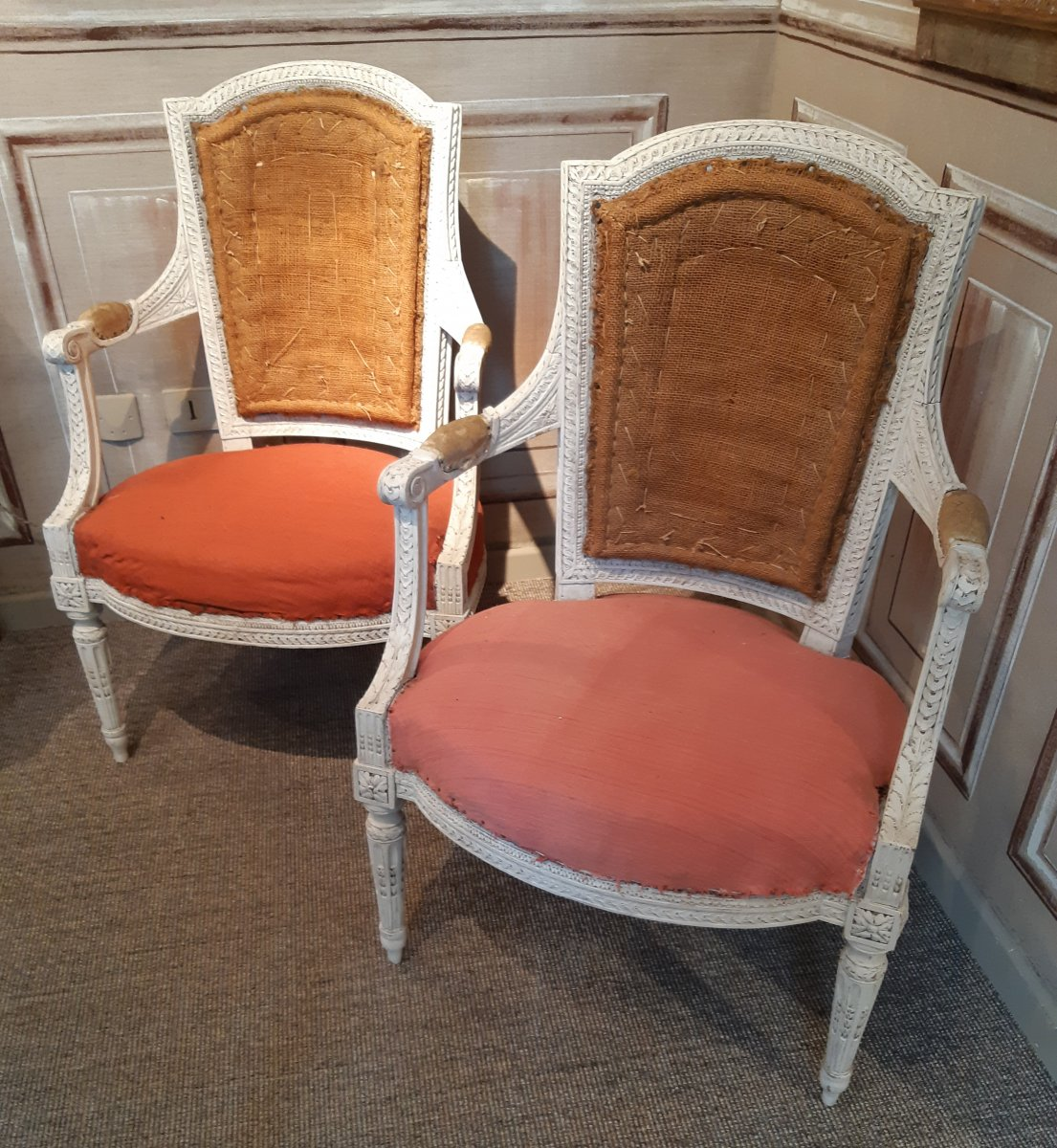 Pair Of Louis XVI Period Armchairs Stamped Jb Sene