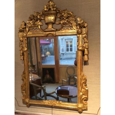 Miroir d'époque Louis XVI en bois doré
