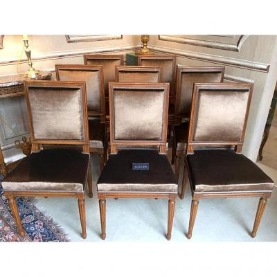 Suite de huit chaises d'époque Louis XVI