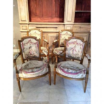 Suite de quatre fauteuils Louis XVI de Claude Sené