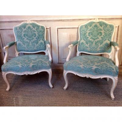 Paire de fauteuils à la Reine d'époque Louis XV
