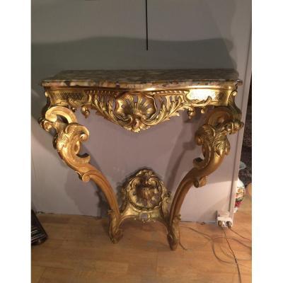 Console en bois sculpté et doré, XVIIIème siècle