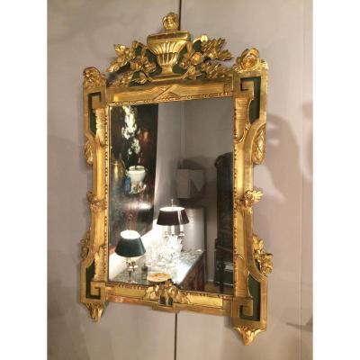 Miroir en bois sculpté, doré et laqué, XVIIIème siècle