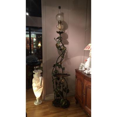 Lampadaire en bronze, époque Art Nouveau
