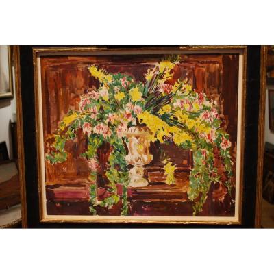 Gouache Bouquet De Fleurs Par Mario  Cavaglieri 1887- 1969