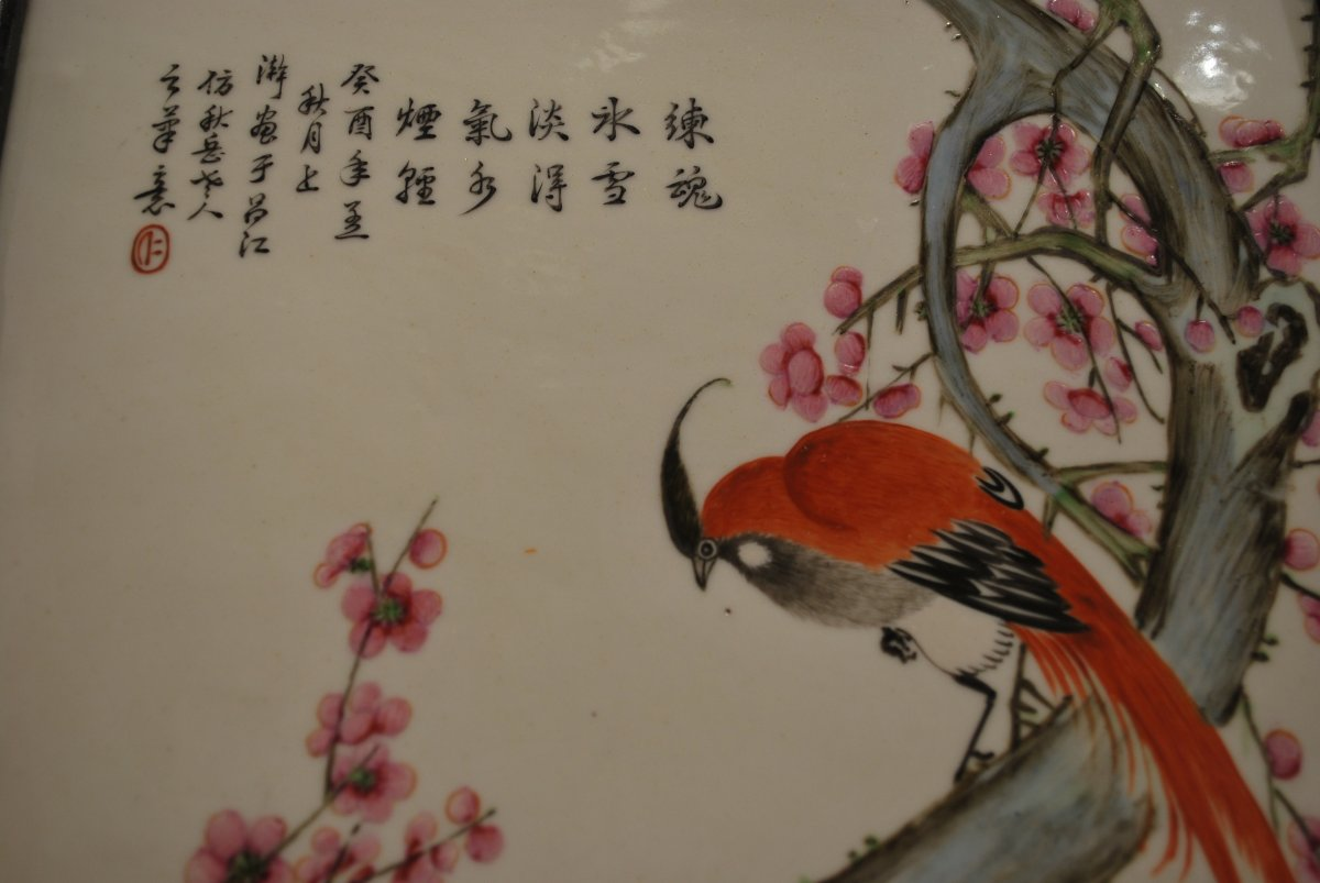 Porcelain Plate With Volatile Decor And Prunus In Bloom-photo-3