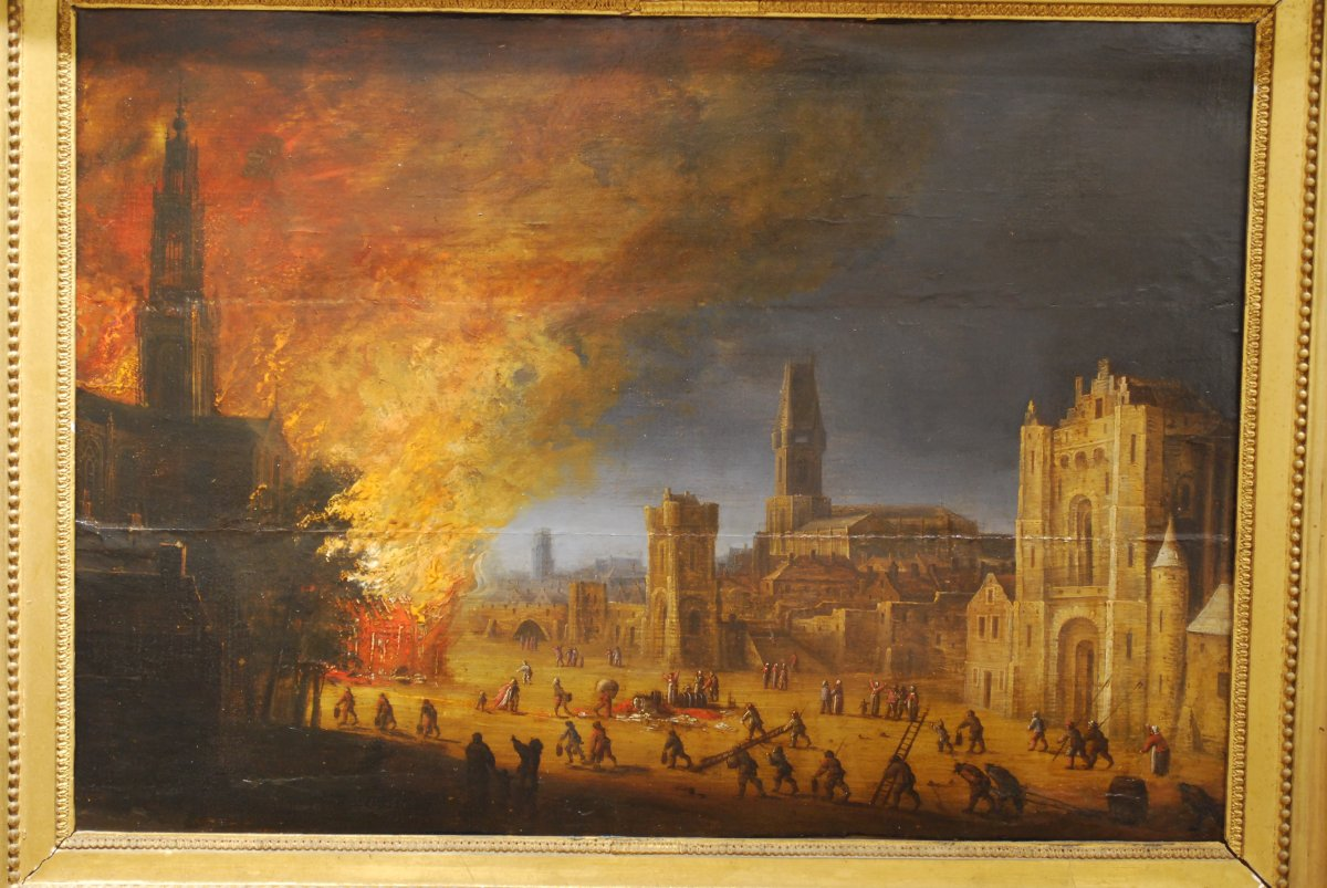 Fire At Night Dutch Painting Seventeenth Century Attributed To Daniel Van Heil (1604-1662)