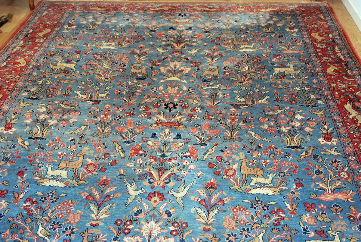 Ghoum Iran Rug Decorated With Stylized Animals.