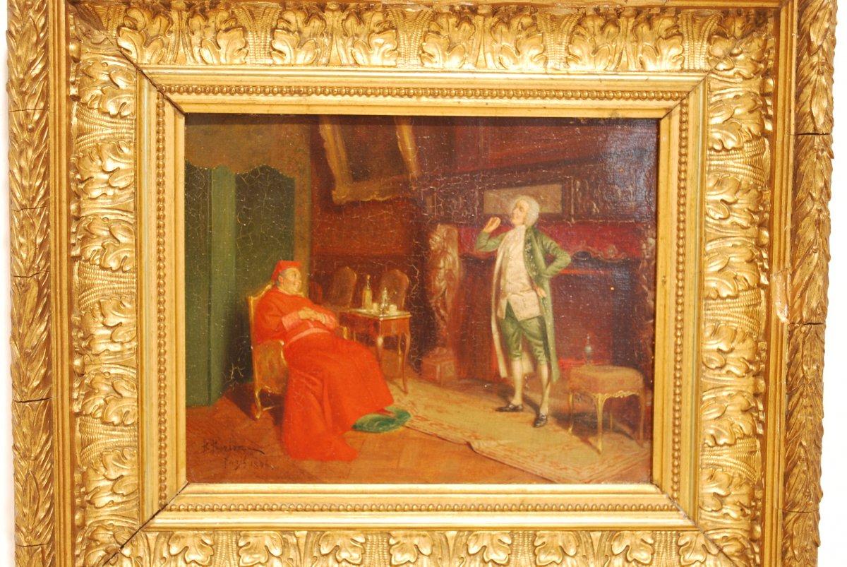 Cardinal Dans Un Salon Du Dix Huitième Siècle
