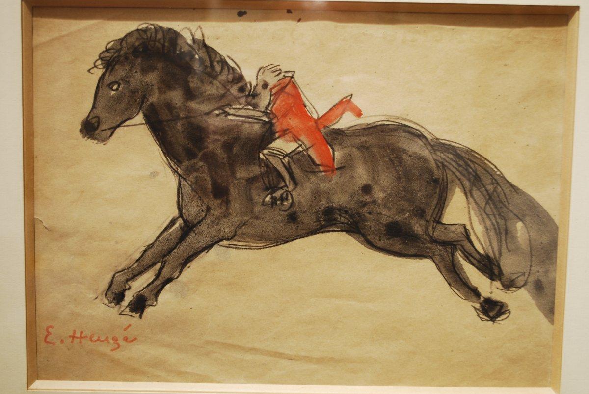 Aquarelle Par Edmond Heuzé  Poney De Cirque à Médrano 1926